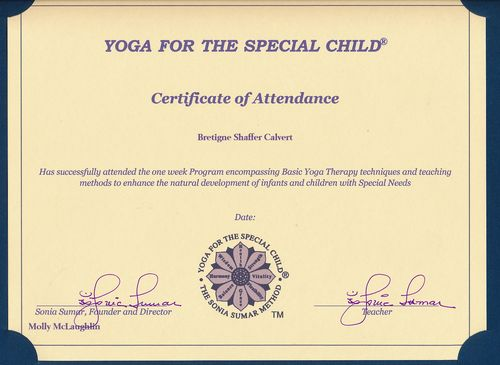 Yoga for Special Child certificate