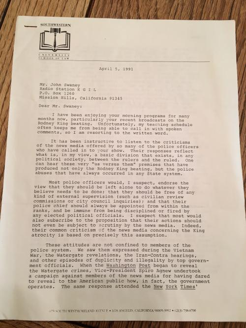 Rodney King letter p1