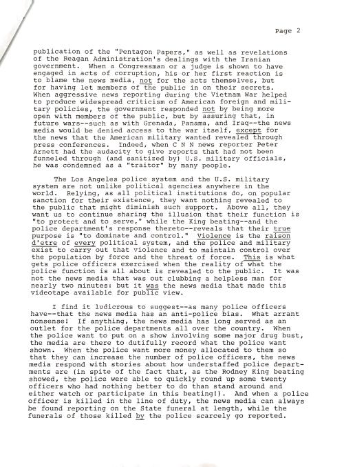 Rodney King letter p2