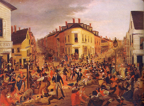 PD - police riots Five_Points_by_George_Catlin_1827