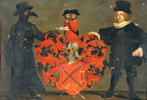 PD-PDR-plague-Theodore_Zwinger_III_(1658-1724);_coat_of_arms_with_portrait_Wellcome_V0018112-edit