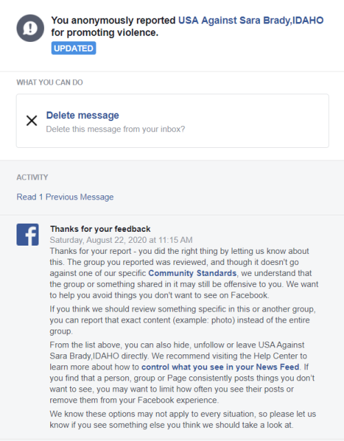 FB reply to Against Sara Brady group report